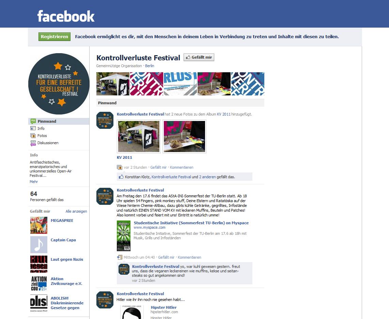Kontrollverluste Festival bei facebook